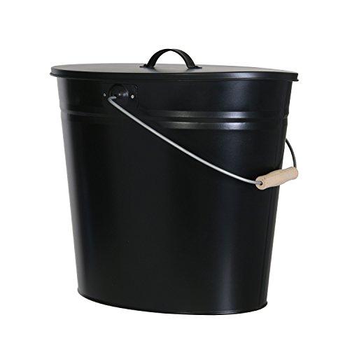 Mehrzweckeimer als Ascheeimer mit Deckel-Kaminzubehör zum Transportieren und Abkühlen von heißer Glut und Asche-Größe: 24 Liter/Farbe:Schwarz - Grill-deckel
