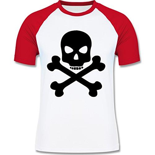 Piraten & Totenkopf - Totenkopf - zweifarbiges Baseballshirt für Männer Weiß/Rot