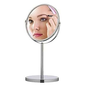 Relaxdays Miroir de maquillage miroir cosmétique miroir grossissant 3x acier inox sur pied