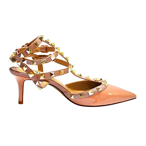 Kaitlyn Pan Mules Pour Femme Nude Patent/Nude Straps/Gold Studs