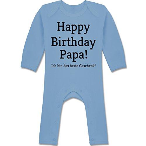 Anlässe Baby - Happy Birthday Papa 6-12 Monate - Babyblau - BZ13 - Baby-Body Langarm für Jungen und Mädchen