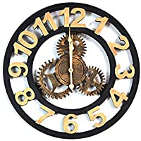 BGGZXX Reloj de Pared Vintage Gear De Madera Viento Industrial Montado en la Pared, Adecuado