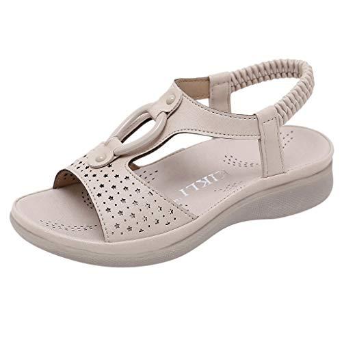 Dorical Sandalen für Mädchen,Böhmischen Slippers Mode Flache Casual Sandalen Strand Sommer Prinzessin schöne Flache Schuhe für Lässig, Mode, Party, Tanz(Khaki-2,6.5-7Jahre)