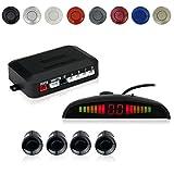 Cocar Sensore di Parcheggio Kit Desplay LED Acustico Auto Reverse Backup di Sistema + 4 Sensori(Nero)