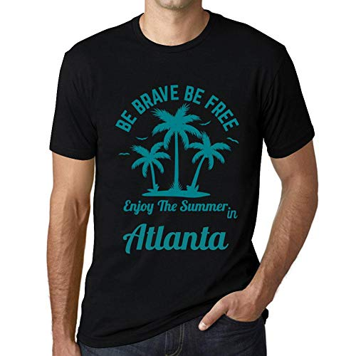 Herren Tee Männer Vintage T-shirt Be Brave & Free Enjoy the Summer Atlanta Noir Schwarz - Atlanta Braves Rock