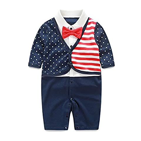 Boy's Gentleman Romper Fairy Baby Newborn Outfit with Bow Tie,3-6M,Stripe Flag