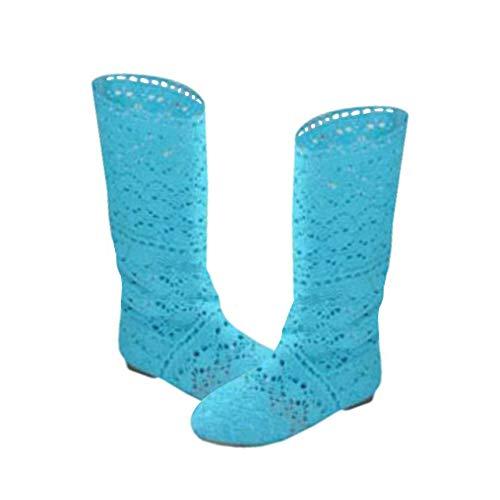 Yying Damen Sommer Stiefel Stiefeletten Flach Stickerei Hohe Stiefel, Sexy Mesh Schlupfstiefel, Slip-On Schuhe Boots Blau 37