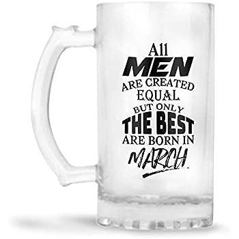 YuBingo Best Men Born in March Designer Printed Glass Beer Mug (Frosted, 500Ml)