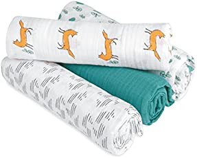 Aden by adenanais Swaddleplus Baby Swaddle Blanket, 100% Cotton Muslin, Large 44 X 44 inch, 4 Pack, Fox Trot