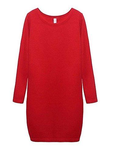 PU&PU Robe Aux femmes Ample Street Chic,Couleur Pleine Col Arrondi Au dessus du genou Polyester LIGHTGRAY-2XL