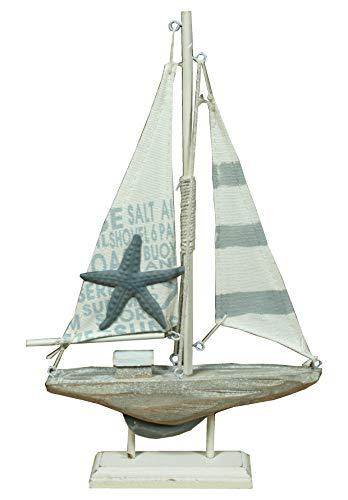Unbekannt Holz Segelboot mit Seestern grau/weiß für die Maritime Deko 30,5cm
