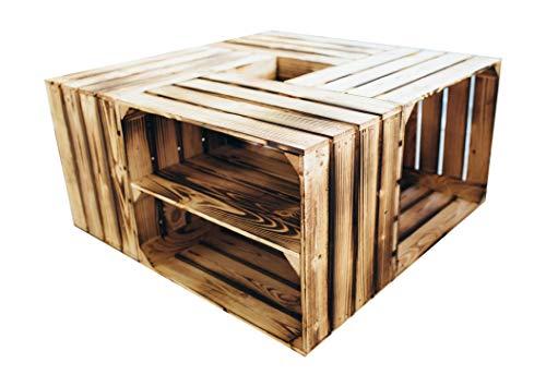 4er Set Holzkisten in verschiedenen Variationen- Ideal als Couchtisch, zur Aufbewahrung oder einfach tolle Dekoration (Neu Geflammt 2 x Boden Längs)