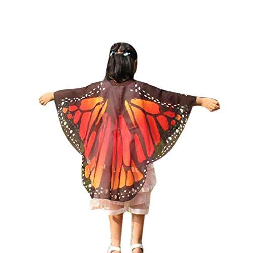 BakeLIN Schal 140*100cm Schmetterlings Flügel Schal Shobdw Kinder Jungen Mädchen Pixie Halloween Cosplay Fasching Kostüm Zusatz (140*100cm, Orange)