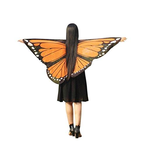 GJKK Daemn Dress-Up Böhmischen Schmetterling Gedruckt Schal Kostüm Zubehör Faschingskostüme Chiffon Schmetterling Kostüm Bauch Flügel Tanz Kostüm Butterfly Wings Schmetterlingskleid (Orange, F) (Orange Wings Kostüme)