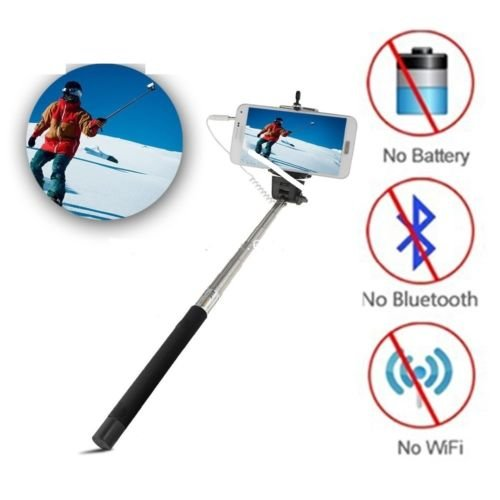 Selfie Stick Monopod Extendable With 3.5MM Aux Cable For Android, Iphone  available at amazon for Rs.138