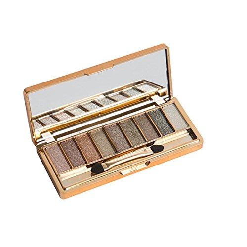 Palette Fard à Paupières,LONUPAZZ 9 Couleurs De Maquillage Palette D'Ombres à PaupièRes Shimmer Eyeshadow Stick Pinceau à Maquillage (E)