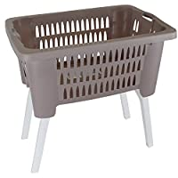 Guaranteed4Less Washing Laundry Basket Bin Sturdy Plastic Linen Storage Folding Legs Foldable (Brown)