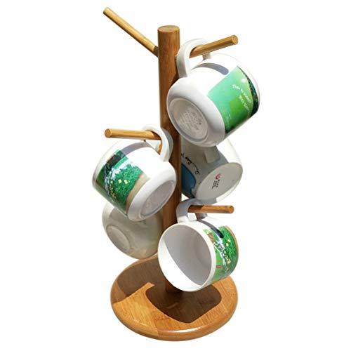 Surenhap Mug Rack Arbre de café de Cuisine de Maison de Support de Support d'arbre de Tasse de Bambou avec 6 Crochets