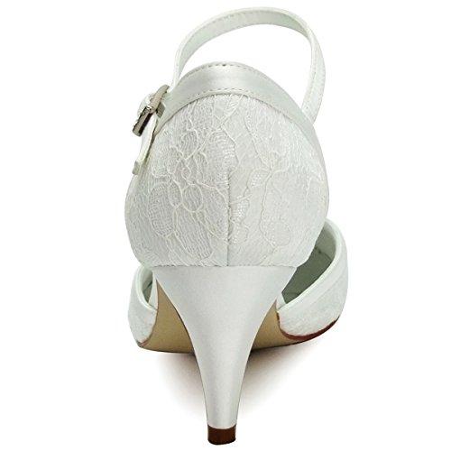 ElegantPark HC1508 Runde Zehen Schnalle Hoch Absatz Pumps Lace Tanzschuhe Damen Brautschuhe Ivory Gr.40 -