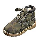 JiaMeng Moda Zapatos De Charol Mediano Alto Botas de Nieve de Invierno para niños pequeños de Camuflaje Botas Navidad Zapatos cálidos(Ejercito Verde,12-18Months)