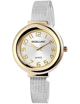 Trend-Wares Damen-Armbanduhr Silber Gold Analog Quarz Metall Modisch Damenuhr Spangenuhr Arabische Ziffern