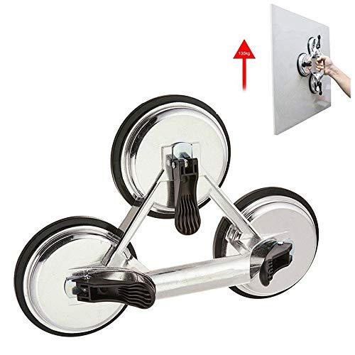 Heavy Duty Triple Locking Saugnapf Cup Pad, Aluminium 3 Platten Hand Vakuumhebel für Fliesen &Glas &Granite, Level Action Type -