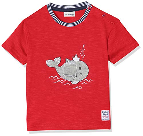 SALT AND PEPPER Baby-Jungen B Pirat Uni Wal mobil T-Shirt, Rot (Red 358), 74 (Piraten-baby)