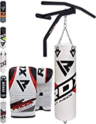RDX Punch Bag Filled Set Kick Boxing MMA Heavy Training Muay Thai Pull Up Bar Wall Bracket Gloves Punching Mitts Hanging Chain Martial Arts 5FT