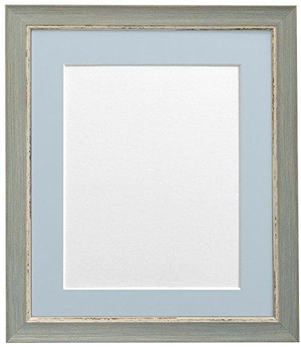 Frames by Post A3 Nordic Bild-/Fotorahmen im Antique-Look mit hellblau-grauem Passepartout für Bildgröße A4, blau (Grau 8x10 Bilderrahmen)