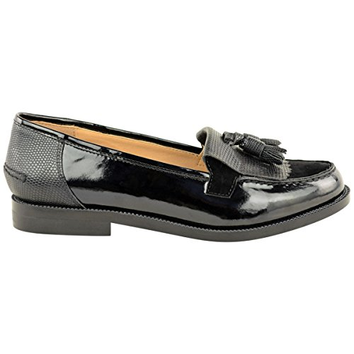 Chaussure De Travail Basse Pour Femmes Casual School Tassel Rugged Black Lucertola