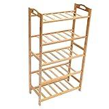 3/4/5 Tiers Shoe Racks Storage Bench Bamboo Entryway Shoe Rack Organizer Shelf Furniture Size #3