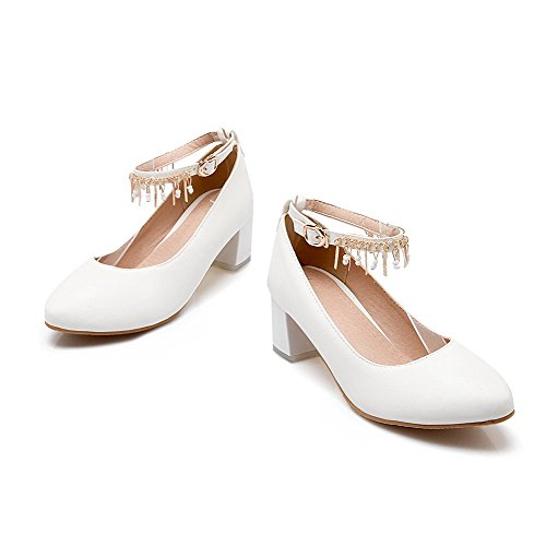Senhoras Sapatos Salto Agoolar Do Redondo Fivela De Dedo Bombas Embutidos Brancos Couro Pé Pu Médio aZarqwIAO