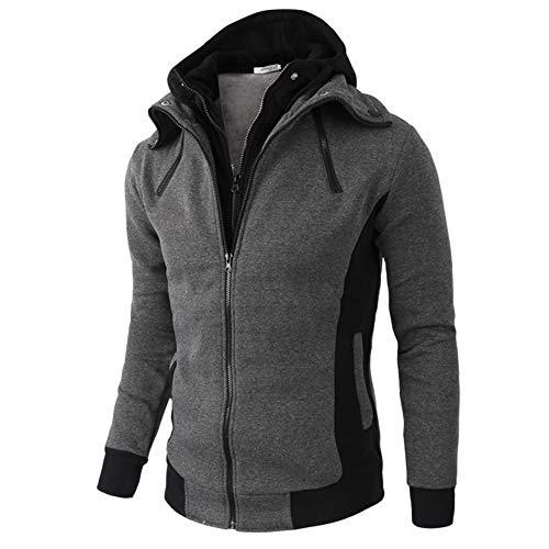 TIFIY Hoodie Sweatshirt, Herbst Winter Warm Solid Pullover Reißverschluss Kapuzenmantel Sport Jacke Streetwear Fashion Biker Jacke(Dunkelgrau,XL)