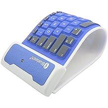 LinDon-Tech bastante portátil inalámbrico impermeable lavable silicona Flexible enrollable Bluetooth teclado para Tablet, Smartphone, ordenador portátil, batería de litio recargable, US-Layout (Azul)