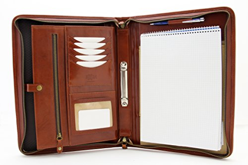 'Padfolio, Leder, Ringbuch, mit Griff, Mappe, A4, Leder, Reißverschluss cognac (Griff Mit Padfolio)