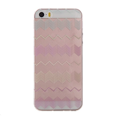 Silicone TPU Housse Coque pour Apple iPhone 5 5S SE- Aohro Ultra mince Transparent avec motif Crystal Clair Soft Gel TPU Protective Back Shell Case Cover Skin +stylet +bouchon anti-poussière-Pink Wave Ondulation