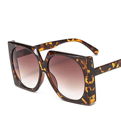 Taiyangcheng Polarisierte Sonnenbrille Weinlese-quadratische Sonnenbrille-Frauen-Neue Art-Steigungs-Sonnenbrille große Rahmen-Brillen für Damen-Schatten,Leopard