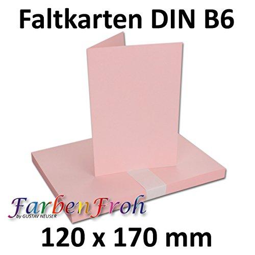 DIN B6 Faltkarten Doppelkarten - Rosa   50 Stück   Einladungskarten - Menükarten - Blanko   17 x 12 cm   formstabil   Printable für Drucker geeignet   PREMIUM Qualitätsmarke: NEUSER FarbenFroh (Umschläge Und Rosa Blanko-karten)