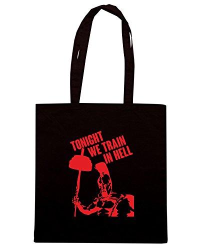 T-Shirtshock - Borsa Shopping ENJOY0139 TONIGHT WE TRAIN IN HELL Nero