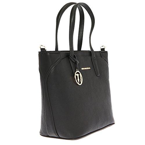 Trussardi Jeans Borsa a Mano da Donna con Ampi Manici in Eco Pelle con dettagli in Stampa Saffiano �?37x29x17 Cm - Mod. 75B700SSM Nero