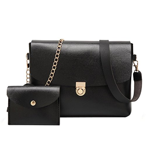 ESAILQ Femmes Chaîne en cuir Sac à main Sac à Bandoulière Composite épaule Messenger Bag + embrayage Portefeuille