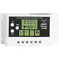 Akozon Panel solar Controlador de carga PWM Controlador inteligente de carga solar Regulador Salida USB 12V 24V 10/20 / 30A Pantalla LCD (KYZ-30A)