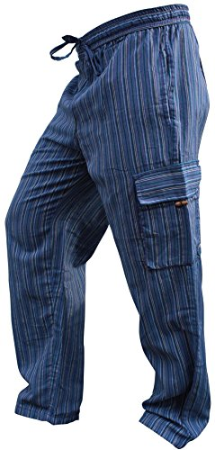 Pantalones Shopoholic Fashion, hippies, de pierna ancha, unisex, bolsillos laterales, diseño de rayas Azul Azul Mix XXXL