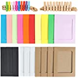 """TIMESETL 20pcs Hanging Paper Photo Frame - Display with Mini Wooden Clips,Fits 4""""x6"""" Pictures, Multi-Color DIY Craft Wall Room Decoration"""