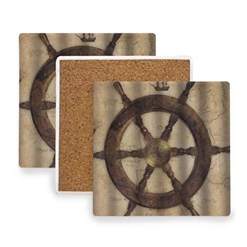PANILUR Seekarte aus Holz Ruder Dekoration,Untersetzer Saugfähige Keramik,für Tassen Tisch Bar Glas(4 Packs)