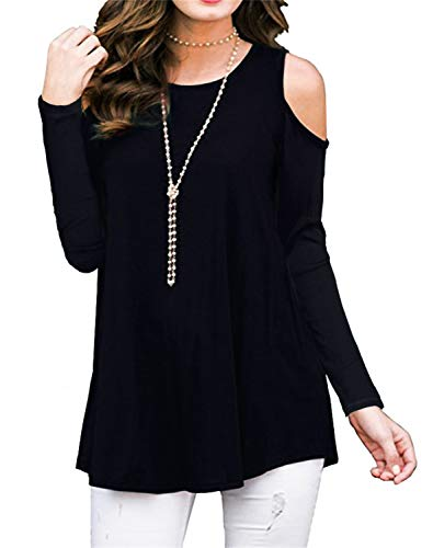 HAOMEILI Women s Short Sleeve Casual Cold Shoulder Tunic Tops Loose Blouse  Shirts (Small(UK f55beccc7499