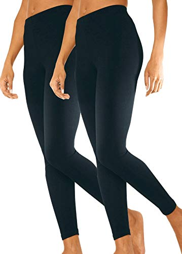 Ströbele SES Damen Leggings 2er Pack schwarz Baumwolle (36/38) Basic Leggings