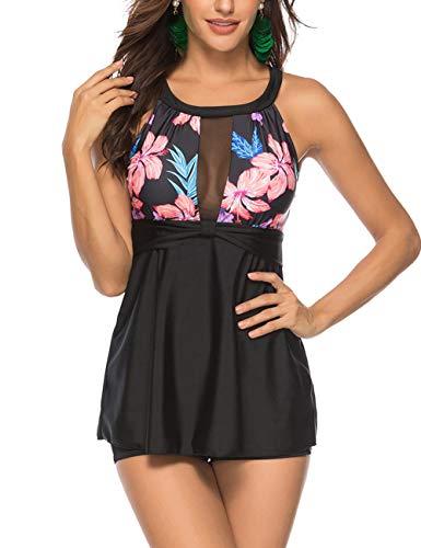 Lover-Beauty Damen LoverBeauty Tankini Badeanzug mit Blumenmuster T-Stück-Badeanzug 5X-Large Halter Swimdress 1 - Schlüsselloch-tankini, Badeanzüge