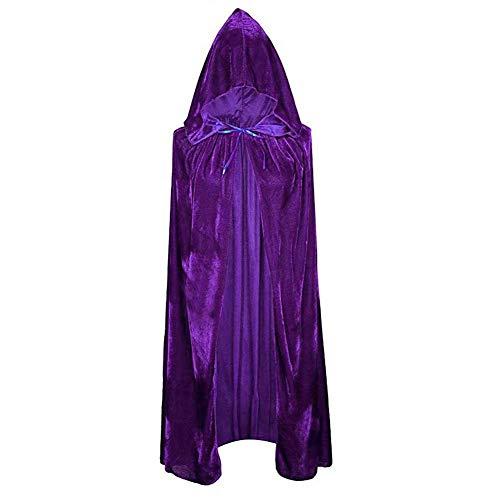 GLXQIJ Unisex Erwachsene Kapuzenmantel Long Velvet Cape für Devil Witch Wizard Halloween Weihnachten Cosplay Kostüme,Purple,S (Velvet Sexy Hexe Kostüm)