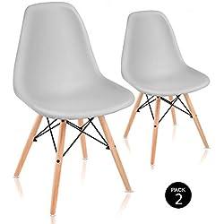 Mc Haus Pack de Sillas de Comedor de Diseño Nórdico, Haya y Polipropileno, Gris Claro, 51x46x82 cm, 2 Unidades